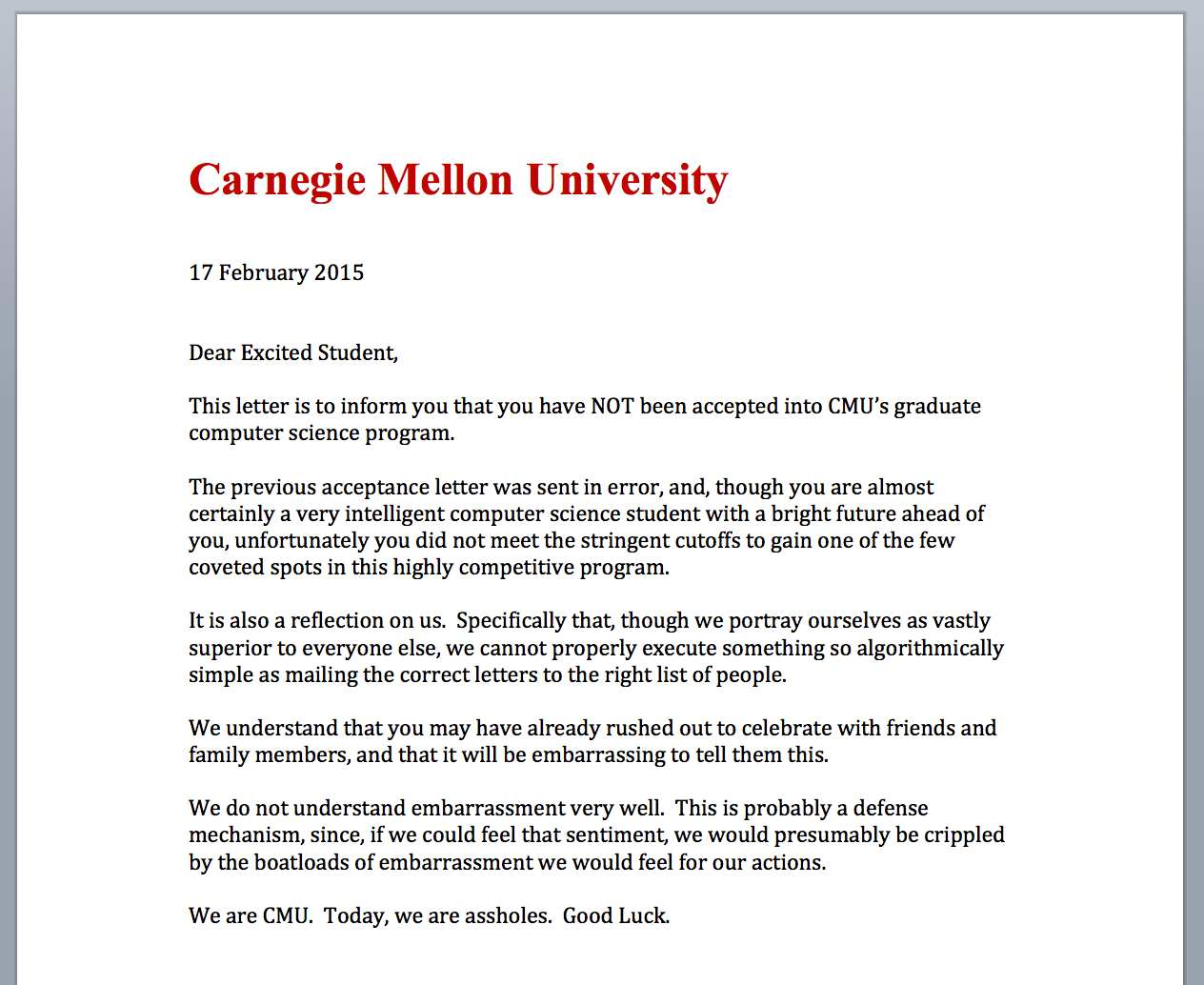 letter sent by cmu after mistakenly sending acceptance letters to rejected applicants
